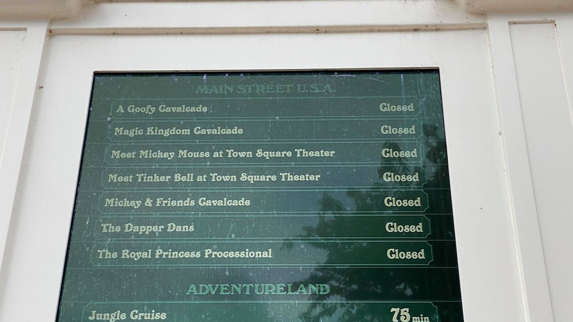 Disney Character Cavalcade Show Times Now Listed on Digital Boards in Magic Kingdom