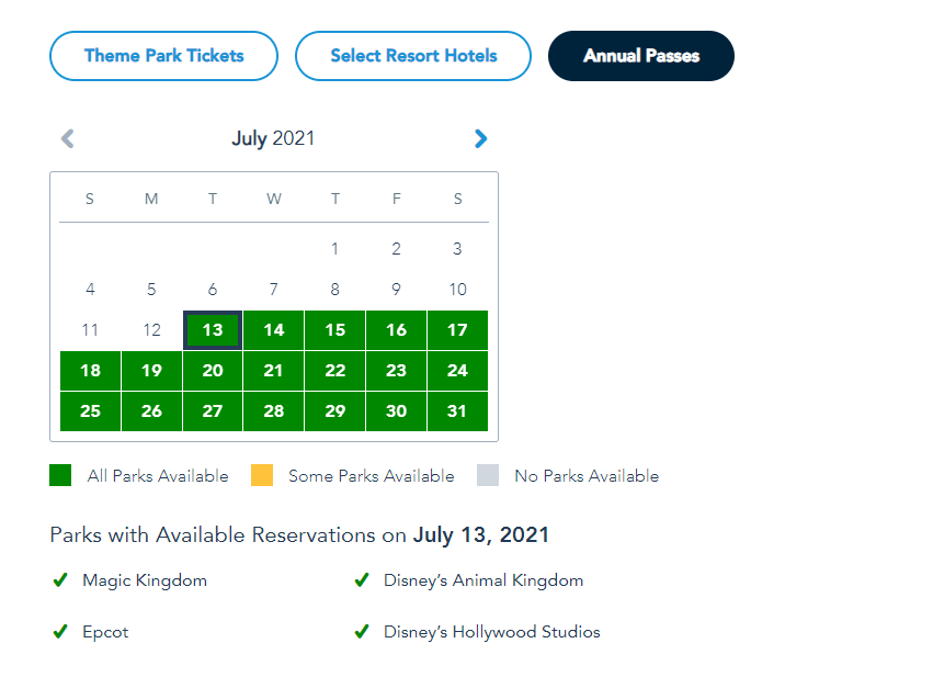 More Disney World Theme Park Reservations added for Summer 2