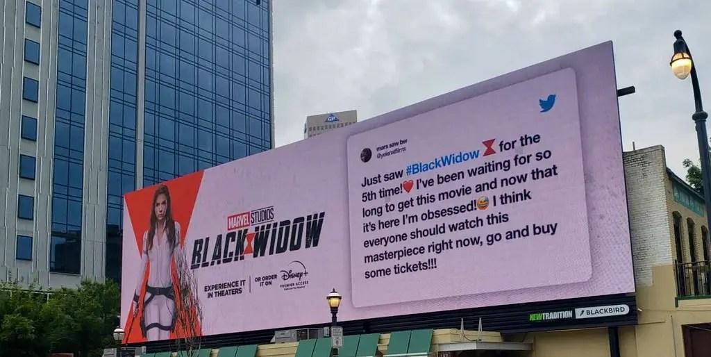 Marvel Fan's Dream Comes True After Tweet is Featured on a 'Black Widow' Billboard