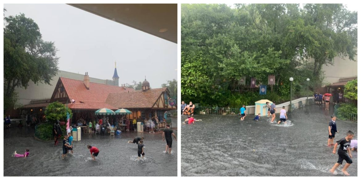 Magic Kingdom gets a little flooded from heavy rain yesterday