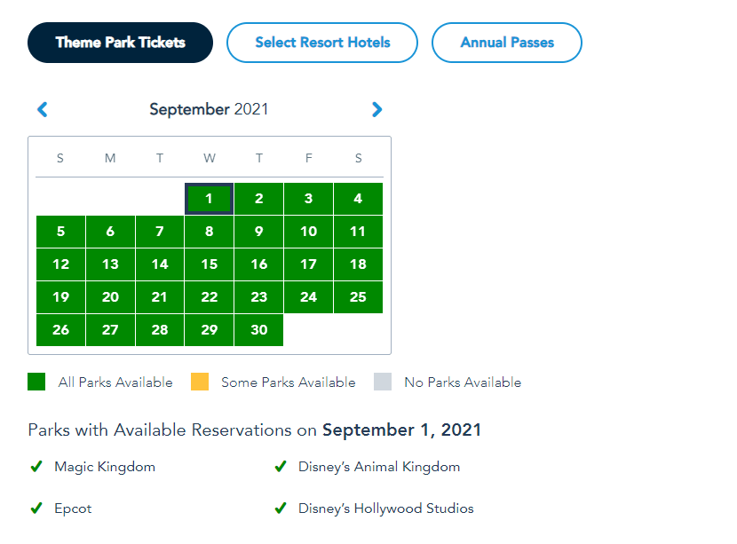 More Disney World Theme Park Reservations added for Summer 9