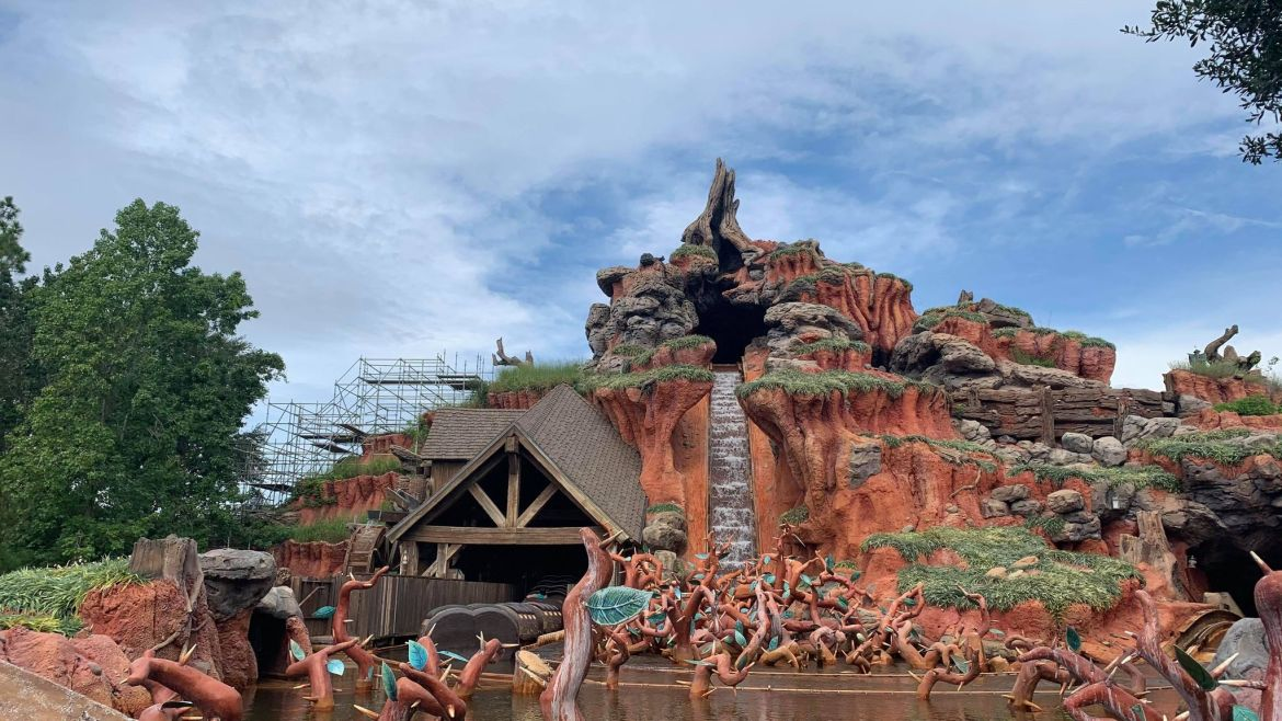 Scaffolding erected on Splash Mountain as crews prepare to work on attraction