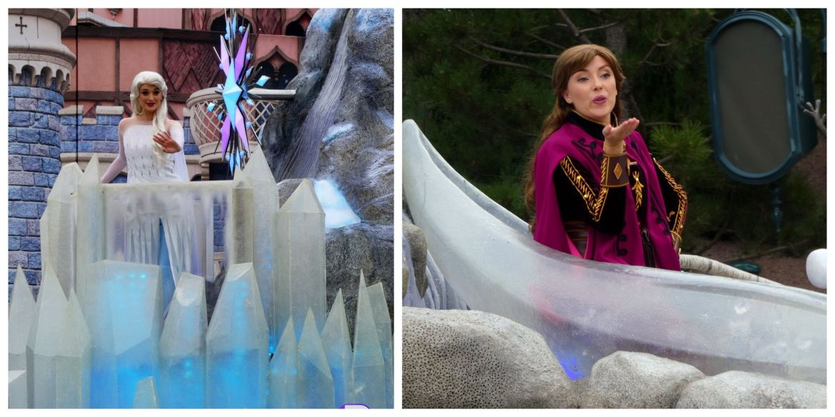 Anna and Elsa surprise guests onboard Frozen float during parade