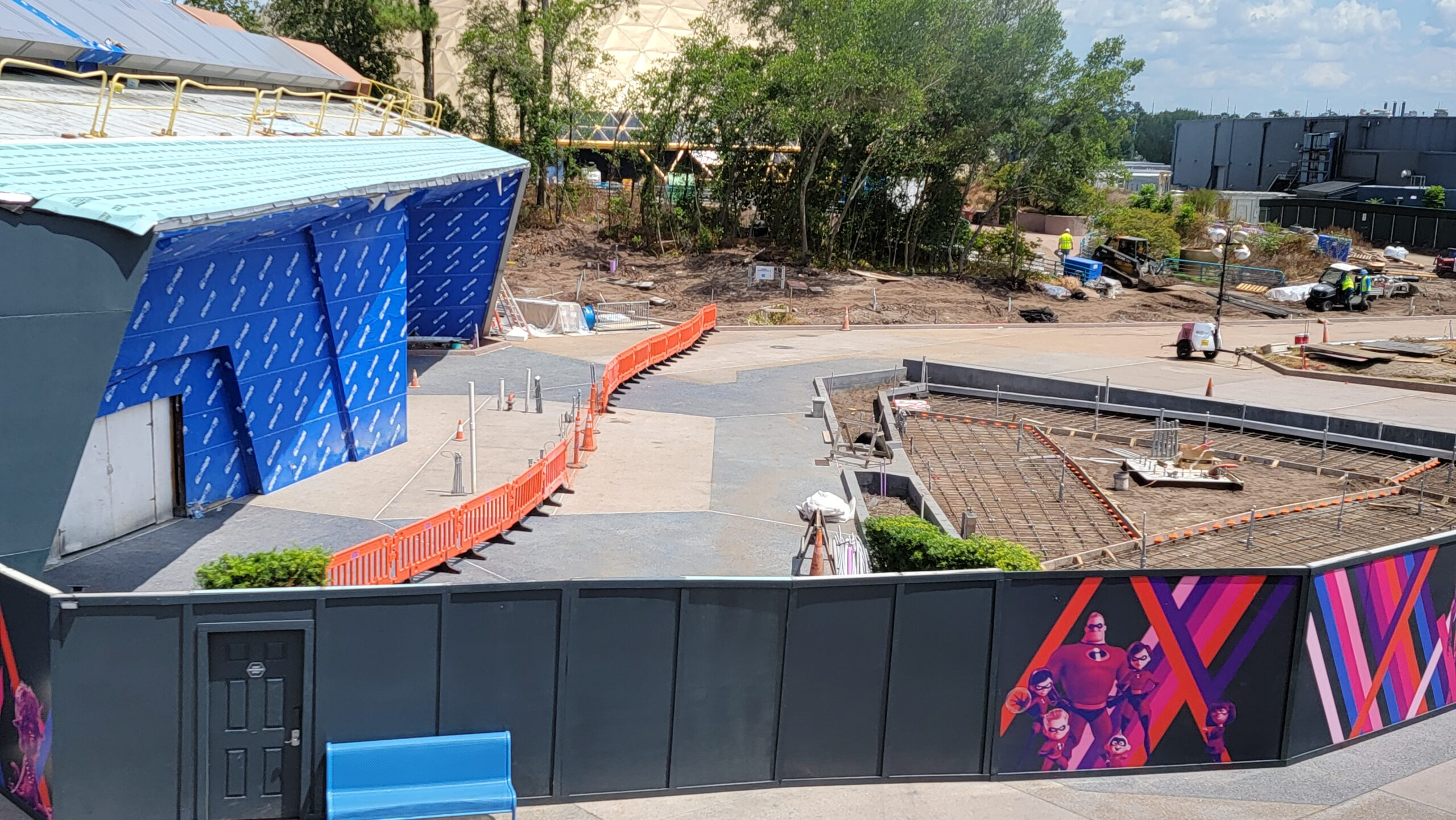Work begins on sidewalk and landscaping for Guardians of the Galaxy Cosmic Rewind 1