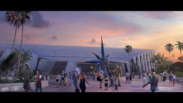 Work begins on sidewalk and landscaping for Guardians of the Galaxy Cosmic Rewind 2