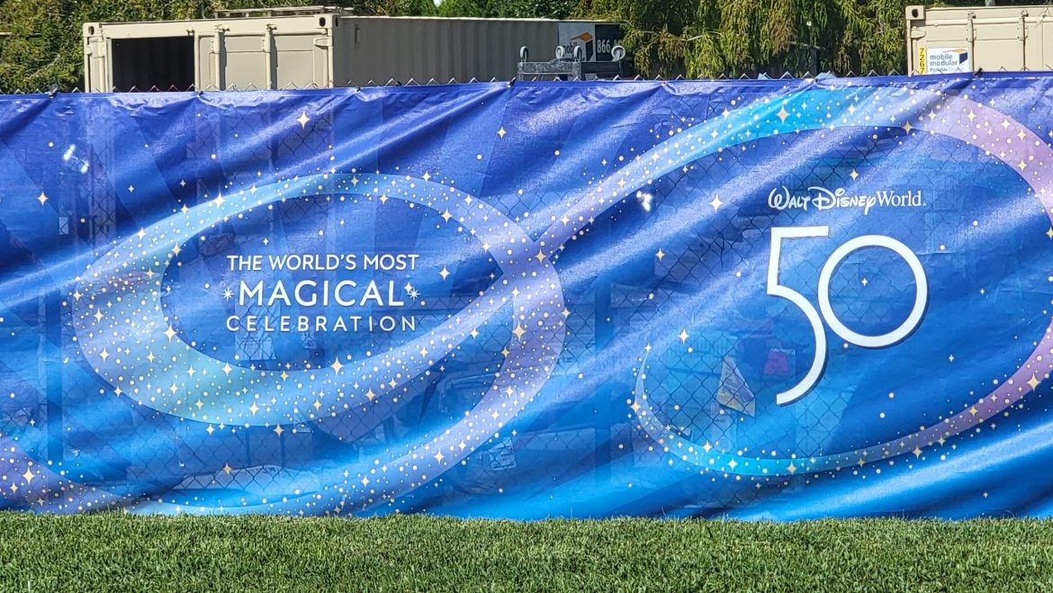 Disney World 50th Anniversary Banners hide construction areas at Disney World