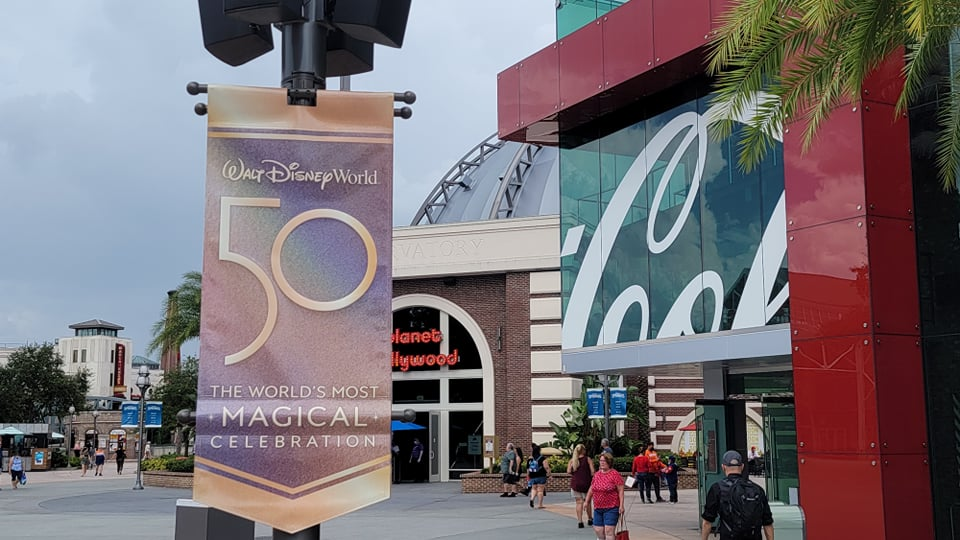 Disney World 50th Anniversary Banners now up at Disney Springs 2