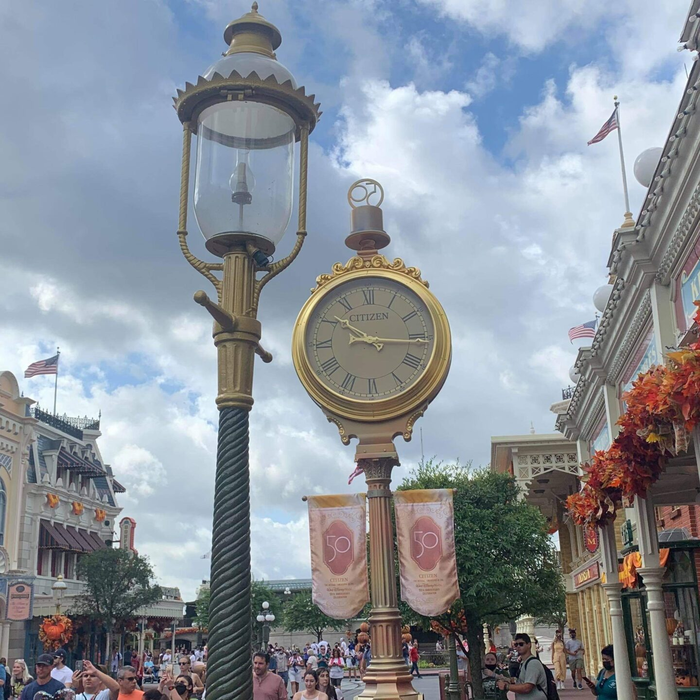 Golden Lampposts installed in the Magic Kingdom for Disney World's 50th 2