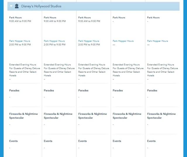 Disney World Theme Park Hours released through November 13th 4