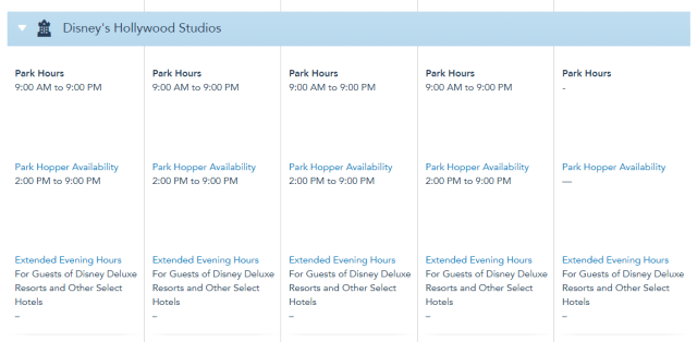 Disney World Theme Park Hours released through December 3rd 4