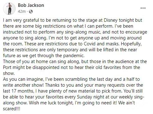 Yehaa Bob Jackson returns to Disney World tonight but with a modified show 1