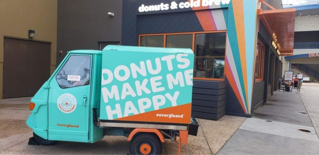 Pumpkin Donut and Cold Brew are a perfect fall treat at Everglazed Donuts 2