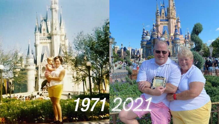 Mom & Son take an identical photo from the Grand Opening of Disney World and again 50 years later