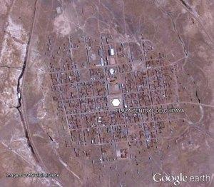 Imagen satelital de la población Chipaya.