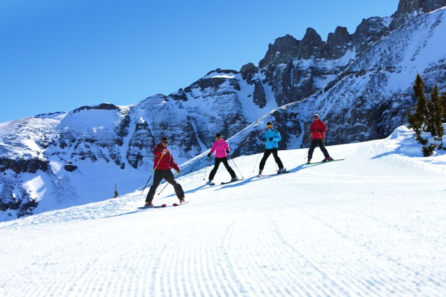 fun skiing with friends during a mountain getaway in Colorado