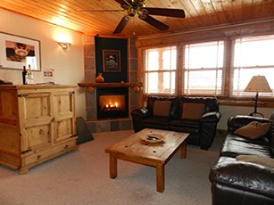 Accommodations Ridgway Colorado Hotel living room with log fireplace