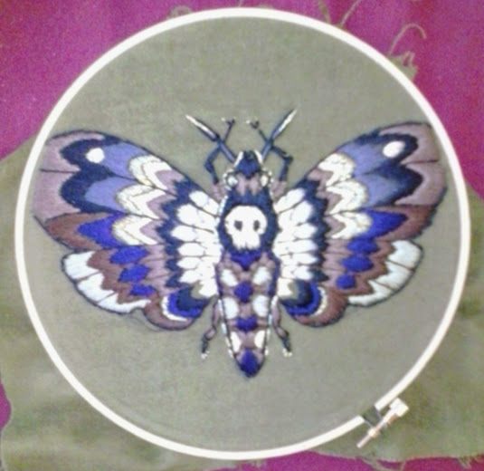 Embroidery by Suzanne Forbes- embroidered deaths head moth