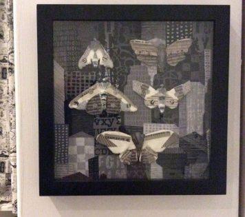 newsprint moth shadowbox Suzanne Forbes 2016