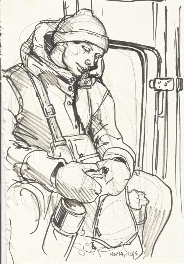 Guy on the train Nov 14 2016 by Suzanne Forbes