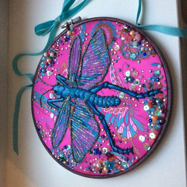Embroidered insect by Suzanne Forbes 2017