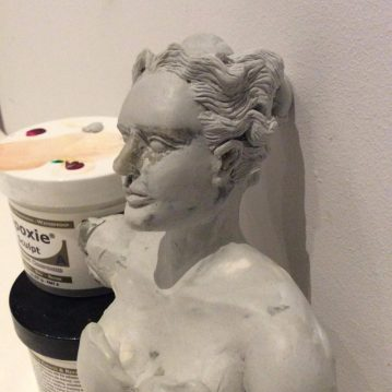 Diana bust WIP sculpture by Suzanne Forbes 2017
