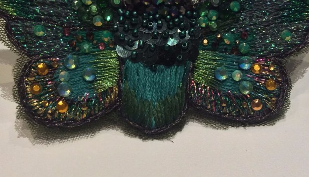 Embroidered bug wings by Suzanne Forbes June 2017
