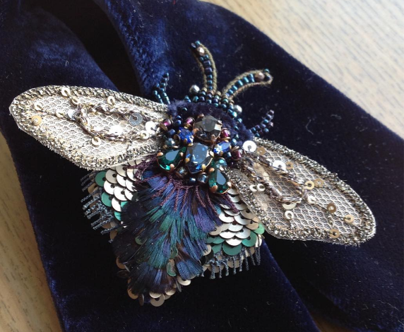 Jewelled embroidered insect brooch by Ludmila Plotnikova June 2017
