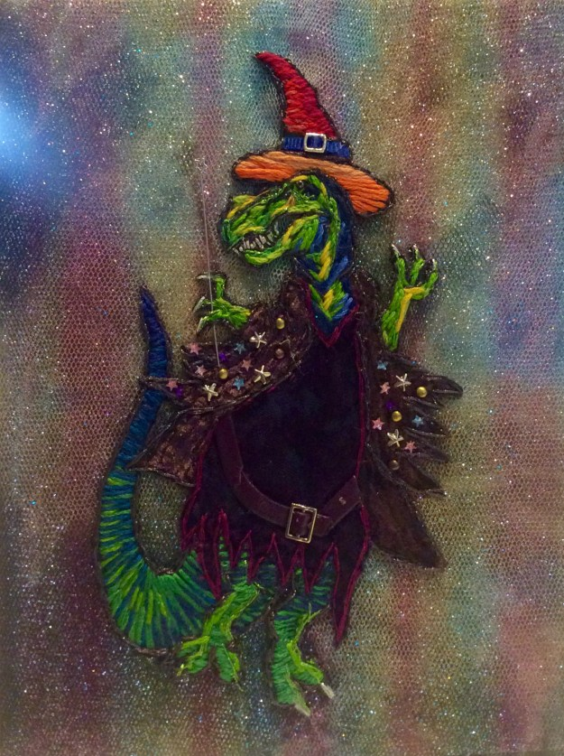 Queer dinowitch embroidery by Suzanne Forbes July 2017