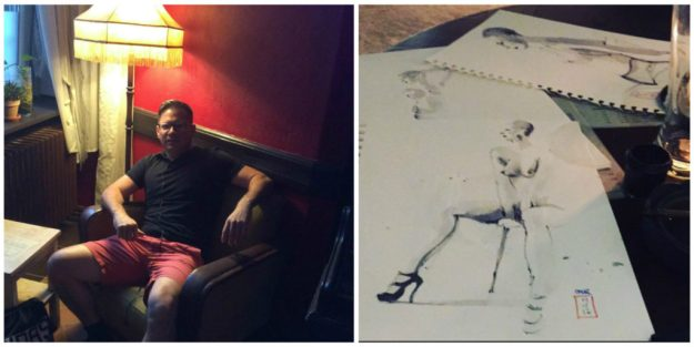 Omar Jaramillo and his drawings of Natasha Enquist at Ludwig Aug 19 2017Omar Jaramillo and his drawings of Natasha Enquist at Ludwig Aug 19 2017