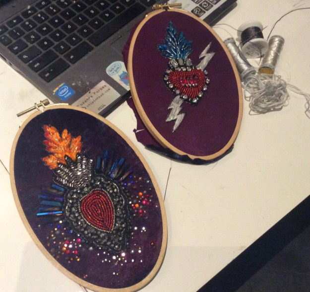 Sacred Heart collage embroideries WIP by Suzanne Forbes Aug 2017