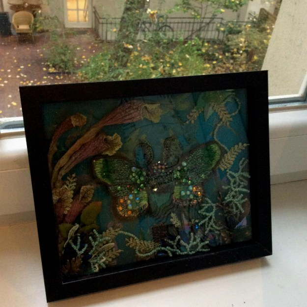Embroidered insect in shadowbox by Suzanne Forbes Oct 2017