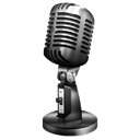 Chip McCain Music's logo, which is A Picture of a vintage microphone