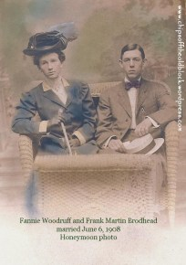 Fannie and Frank Brodhead, honeymoon photo, June 1908