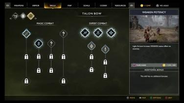 Combat Skill Tree menu