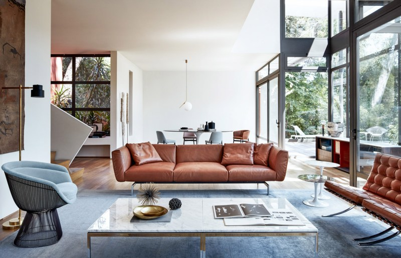 brown leather couches open windows sophisticated living room Interior Experts Advice For Decorating