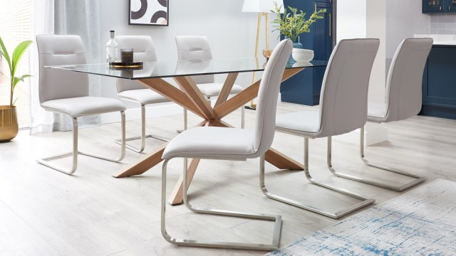 otter clear glass and walnut with fergus faux leather 6 seater dining set 5 the Perfect Dining Chairs