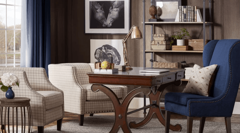 wooden walls traditional home office with bookshelf way 020818 How to Style a Vintage Home Office