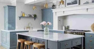residentialbluekitchenislandinteriorlondonphotograph Furnishing Your First Home