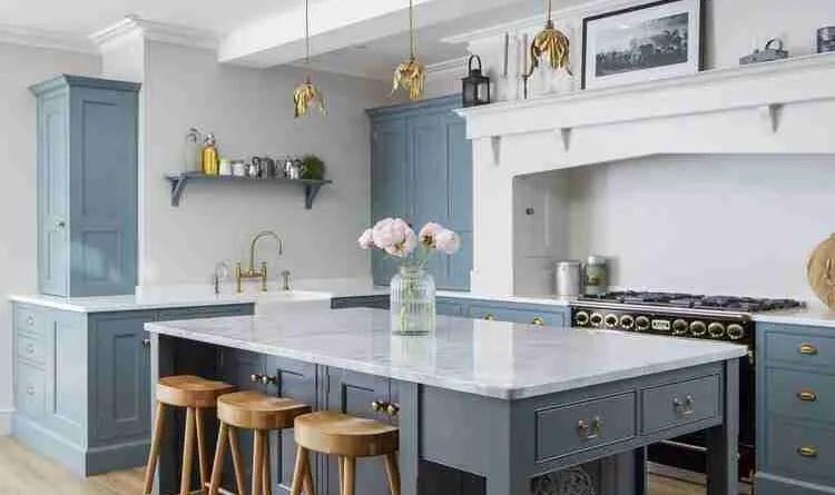 residentialbluekitchenislandinteriorlondonphotograph Revamp Your Kitchen On A Budget