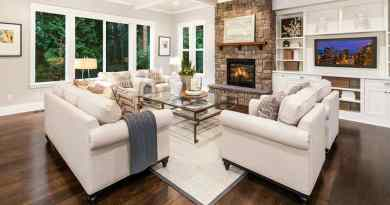 living room with dark hardwood flooring stone fireplace and box ceiling Plan Your Budget
