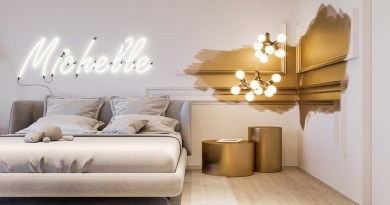 white and gold luxury kids room with neon sign luxury girls bedroom Pocket Spring Mattress