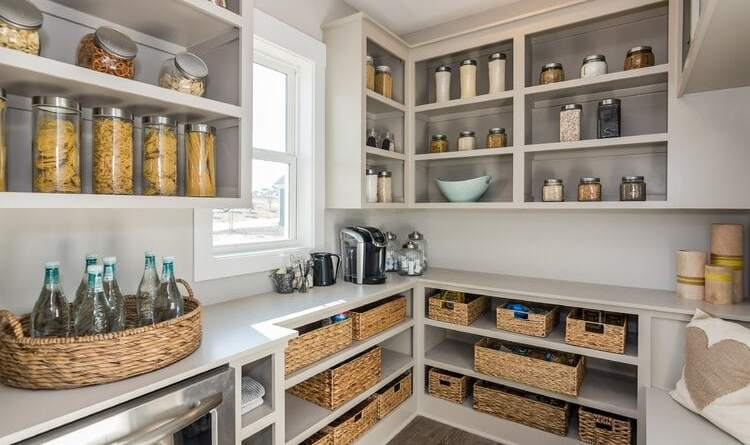 4 Open Cabinets walk-in pantry