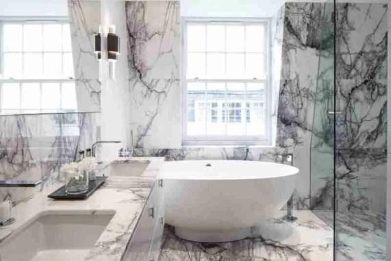 Veined Marble Marble Tile Bathroom Ideas