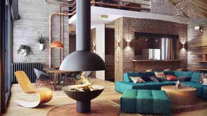 1 Central fireplace design 665x374 1 loft interior design ideas