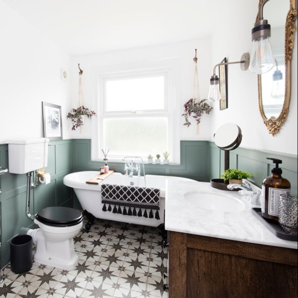 Traditional bathroom makeover with sage panelled walls and monochrome statement tiles Types of Bathroom Styles