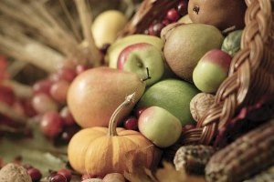 Basket of Fruits and Vegetables --- Image by © Royalty-Free/Corbis