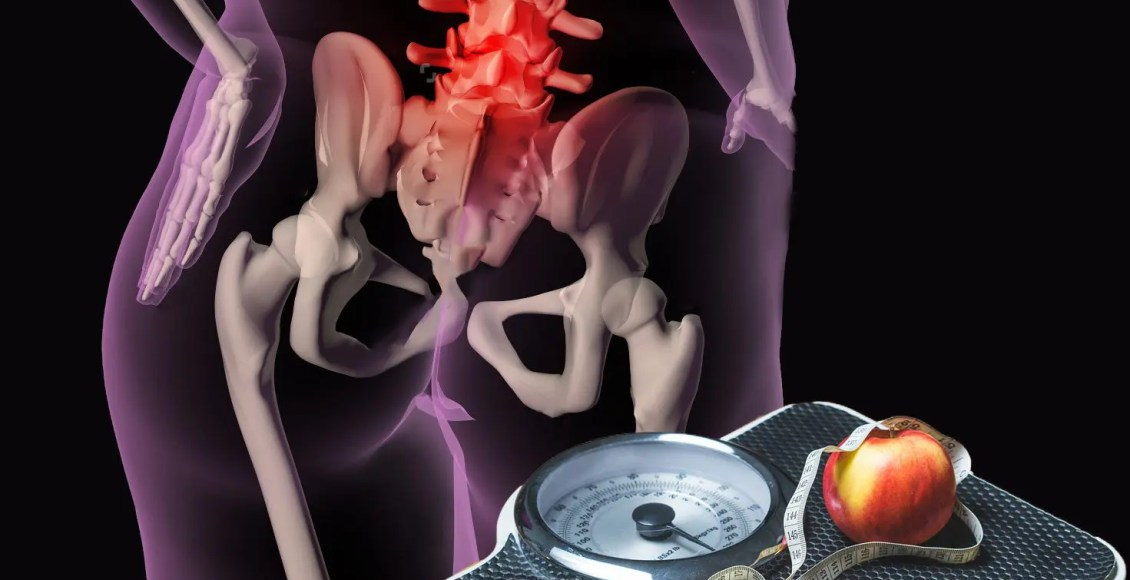 blog illustration of overweight person with back pain and scale