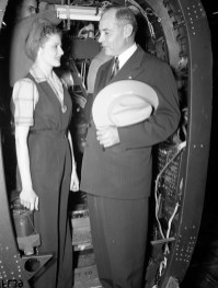 Image of Florence B. Kelly, a riveter from Department 40, with Governor Coke R. Stevenson on his recent visit to the plant. [Florence B. Kelly and With Governor Coke R. Stevenson], photograph, Date Unknown; (https://texashistory.unt.edu/ark:/67531/metapth41133/m1/1/?q=Governor%20Coke%20Stevenson: accessed February 13, 2020), University of North Texas Libraries, The Portal to Texas History, https://texashistory.unt.edu; crediting Lockheed Martin Aeronautics Company, Fort Worth.