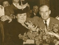 Photograph of Governor Coke Stevenson and his wife Fay. People are visible behind them. [Governor and Mrs. Coke Stevenson], photograph, 1941; (https://texashistory.unt.edu/ark:/67531/metapth354727/m1/1/?q=Governor%20Coke%20Stevenson: accessed February 13, 2020), University of North Texas Libraries, The Portal to Texas History, https://texashistory.unt.edu; crediting McAllen Public Library.