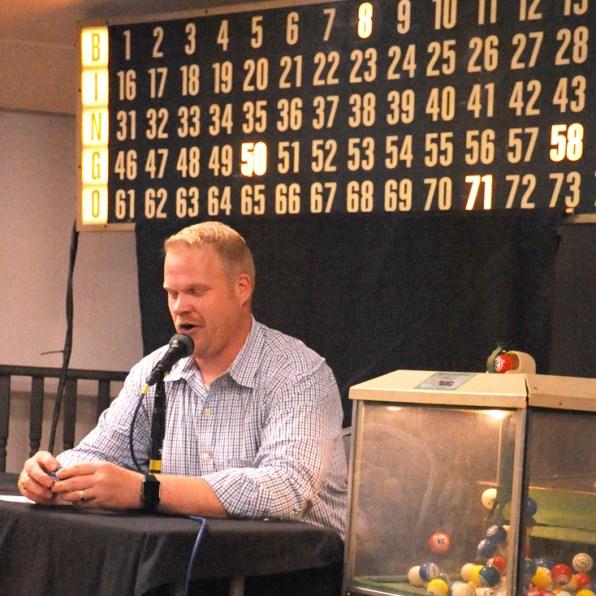 Bosque Arts Center house Bingo caller Adam Willmann livens up the BAC Bingo evenings with lively banter.